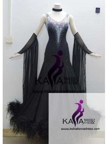 KAKA DANCE B1344,Ostrich Feather Ballroom Standard Dance Dress,Waltz Dance Competition Dress,Women,Gi