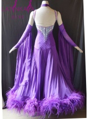 KAKA DANCE B1440,Purple Ostrich feather Ballroom Standard Dance Dress,Waltz Dance Competition Dress,Women,Girl Dresss