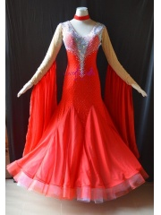 KAKA DANCE B1441,Red color Silk Chiffon Ballroom Standard Dance Dress,Waltz Dance Competition Dress,Women,Girl,Ballroom