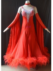 KAKA DANCE B1443,Red Ostrich feather Ballroom Standard Dance Dress,Waltz Dance Competition Dress,Women,Girl,Ballroom