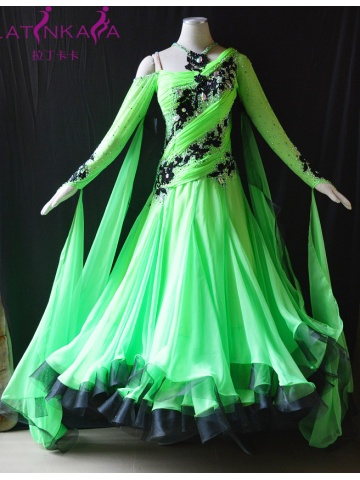 KAKA DANCE B147,Green color Ballroom Standard Dance Dress,Waltz Dance Competition Dress,Ballroom Dance Dress